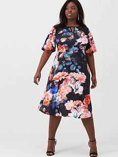 v-by-very-curve-lace-insert-printed-skater-dress-floral-print