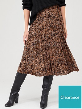 warehouse-warehouse-ink-spot-pleated-midi-skirt-tan
