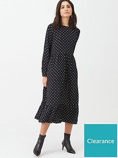 warehouse-spot-print-tiered-midi-dress-black