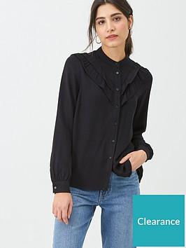 warehouse-double-ruffle-shirt-black