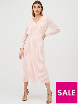 warehouse-pleated-long-sleeve-dress-pale-pink