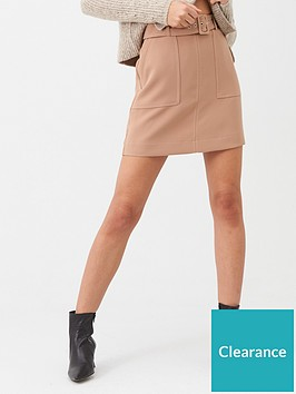 warehouse-contrast-stitch-pelmet-skirt-camel