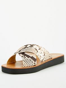 office-santos-premium-snake-crossover-flat-sandal