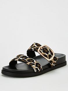 office-synthia-double-buckle-flat-sandal-leopard