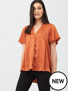 v-by-very-short-sleeve-notch-neck-blouse