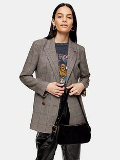 topshop-topshop-heritage-check-double-breasted-blazer-brown