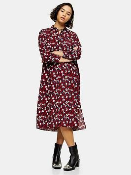 topshop-petite-trapeeze-midi-shirt-dress-burgundy
