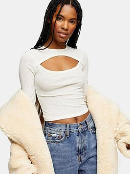 topshop-topshop-cut-out-long-sleeve-top-cream