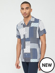 selected-homme-fuse-printed-short-sleeve-shirt-blue