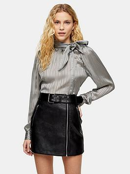 topshop-plain-pussybow-blouse-silver