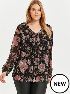 evans-frill-neck-lace-up-front-paisley-top-black