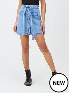 missguided-missguided-denim-paperbag-waist-skirt-blue