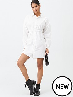 missguided-missguided-poplin-gathered-waist-shirt-dress-white