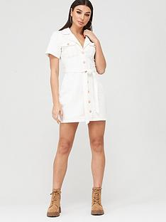missguided-missguided-contrast-stitch-self-belt-denim-dress-white