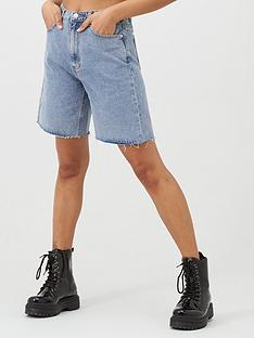 missguided-missguided-longline-high-waisted-denim-shorts-blue