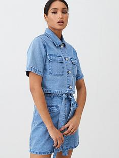 missguided-missguided-boxy-cropped-denim-shirt-co-ord-blue