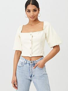 missguided-missguided-square-neck-balloon-sleeve-button-up-denim-top-cream