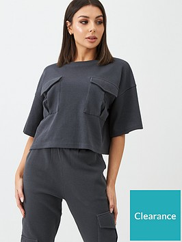 missguided-missguided-waffle-utility-pocket-oversized-crop-t-shirt-grey