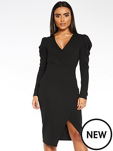 quiz-scuba-crepe-wrap-front-skirt-puff-sleeve-dress-black