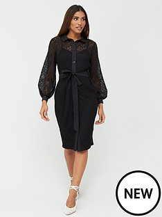 v-by-very-lace-shirt-midi-dress-black