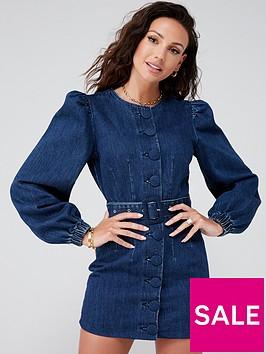 michelle-keegan-button-front-denim-mini-dress-mid-blue