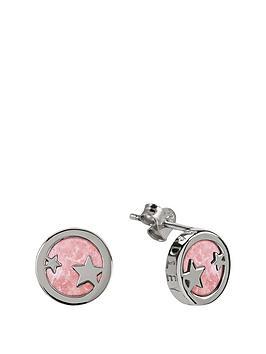 radley-sterling-silver-star-pink-enamel-disc-stud-ladies-earrings
