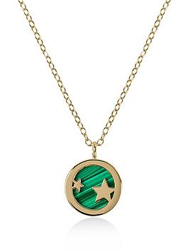 radley-gold-tone-sterling-silver-star-and-green-enamel-disc-pendant-ladies-necklace