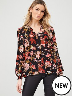 wallis-winter-blossom-ruffle-blouse-black