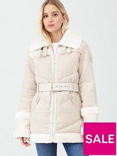 river-island-river-island-woven-check-print-aviator-jacket-cream