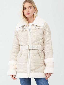river-island-woven-check-print-aviator-jacket-cream