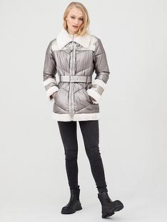 river-island-river-island-metallic-aviator-jacket-cream
