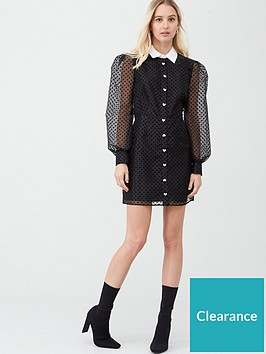 river-island-collar-organza-sleeve-mini-dress-black