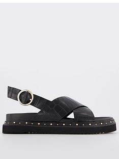 office-supernova-crossover-studded-flat-sandal-black
