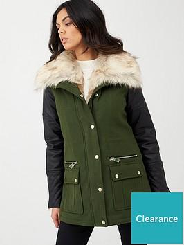 river-island-pu-sleeve-faux-fur-hood-coat-khaki