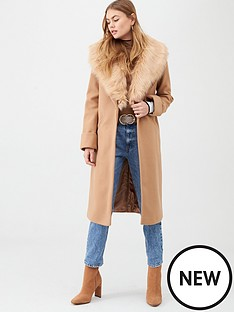 river-island-river-island-faux-fur-collar-longline-coat-camel