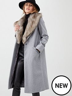 river-island-river-island-faux-fur-collar-longline-coat-light-grey
