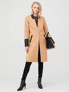 river-island-river-island-pu-trim-collarless-smart-coat-camel