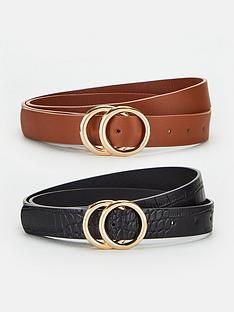 v-by-very-two-pack-leo-double-buckle-beltsnbsp--blacktan