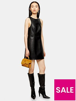 topshop-pu-pinaforenbspdress-black