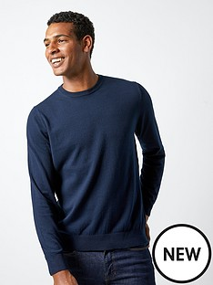 burton-menswear-london-crew-neck-jumper-navy