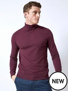 burton-menswear-london-roll-neck-jumper-burgundynbsp