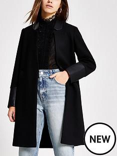 ri-petite-ri-petite-pu-blocked-long-sleeve-coat-black