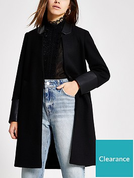 ri-petite-ri-petite-pu-blocked-long-sleeve-coat-black