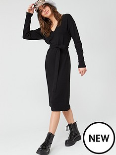 v-by-very-tie-waist-v-neck-knitted-dress-black