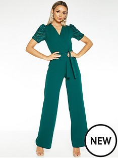 quiz-scuba-crepe-wrap-puff-sleeve-jumpsuit-green