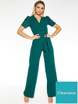 quiz-scuba-crepe-wrap-puff-sleeve-jumpsuit-green