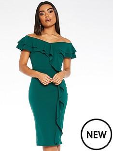 quiz-scuba-crepe-bardot-double-frill-midi-dress-green