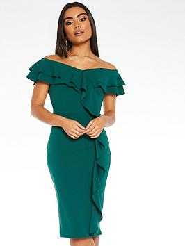 quiz-scuba-crepe-bardot-double-frill-midi-dress-green