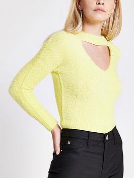 ri-petite-ri-petite-cut-out-fluffy-knitted-jumper-yellow