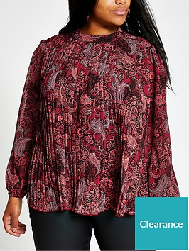 ri-plus-paisley-print-pleated-top--red